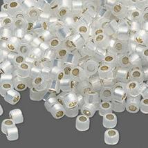 Miyuki Glass Delicas 11/0, Gilt Lined White Opal 221, 50g glass delica beads - $20.25