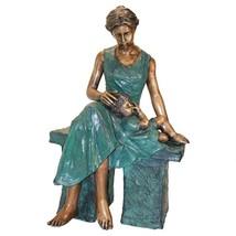Mother & Child's Moment Lost Wax Bronze Life-size Garden Statue Sculpture - $8,998.00