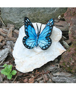 Blue Butterfly Lost Wax Bronze Casting Collectible Sculpture Statue - $69.95