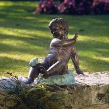 Child's Splashy Surprise: Spitting Frog Garden Statue Sculptural Fountain - $3,444.25