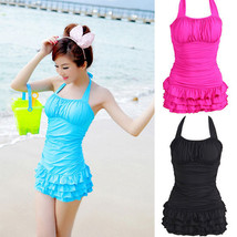 Women Sexy Swimwear One Piece Bikini Swimsuit Halter Backless Tiered Sui... - $17.89