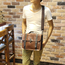 Men's Leather Briefcase Laptop Handbag Shoulder bags Messenger business ... - $32.62