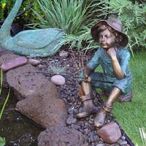 """""""Fish Wish"""" Fisher boy Lost Wax Cast Bronze Garden Statue Sculpture - $3,444.25"""