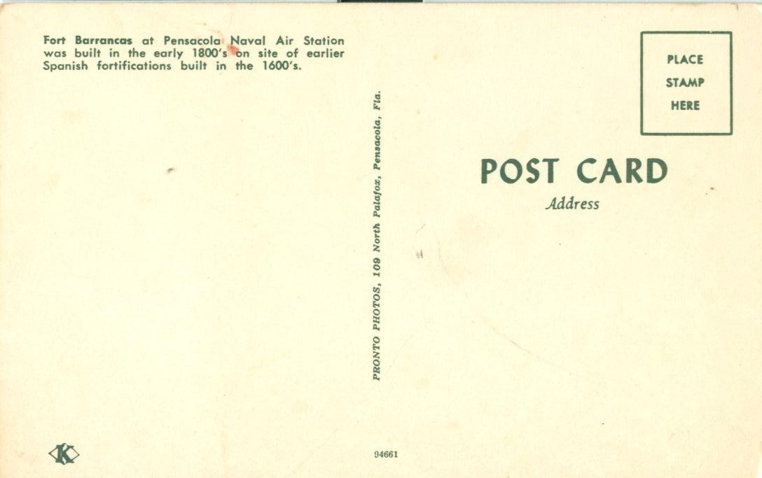 Fort Barrancas, at Pensacola Naval Air Station, 1950s unused chrome Postcard