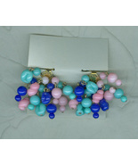 Japanese Cluster Beads Red Green Blue Yellow White Mix Earring Clip Jewekry - $3.00