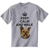 Yorkshire Terrier Keep Calm And Walk 1   New Cotton Grey Tshirt - $20.75