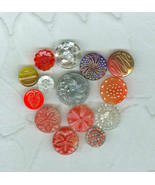 Mixed Lot 14 Vintage Buttons Czechoslovakian Glass  Craft Sewing Embelli... - $8.99