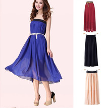 Womens Double Layer Chiffon Pleated Maxi Dress Elastic Waist Skirt FIve ... - $11.99
