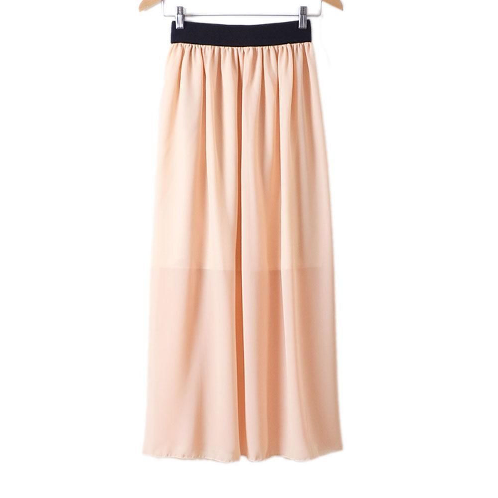 Womens Double Layer Chiffon Pleated Maxi Dress Elastic Waist Skirt FIve Colors