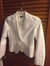 J. Crew NWT White Women's 100% Cotton Striped Jacket Size Med 4 - $42.08