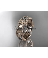 Leaf wedding ring, 14kt rose gold diamond flower engagement ring, weddin... - $895.00