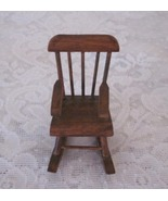 Dark Stained Wood Sturdy Miniature Rocking Chair Doll House Display Coll... - $7.99