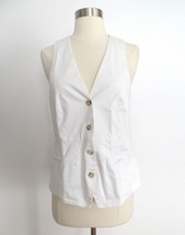 THEORY women's size 8 white button down sleeveless top vest career work ... - $25.99