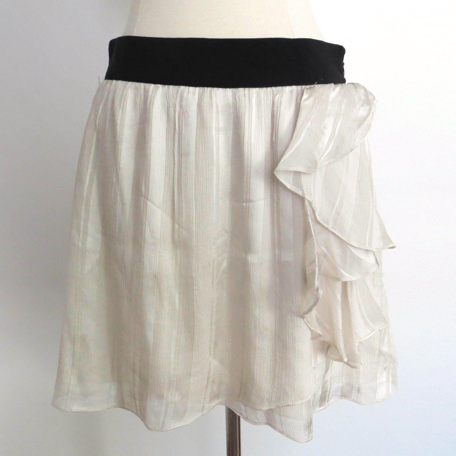 56e09d3a06 57. 57. Previous. Club Monaco size 2 pearl ivory knee length skirt  decorative ruffles 100% Silk · Club Monaco ...