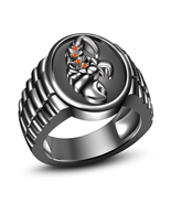 14k Black Rhodium Plated .925 Silver Orange Sapphire Sagittarius Zodiac Ring 10 - $93.73