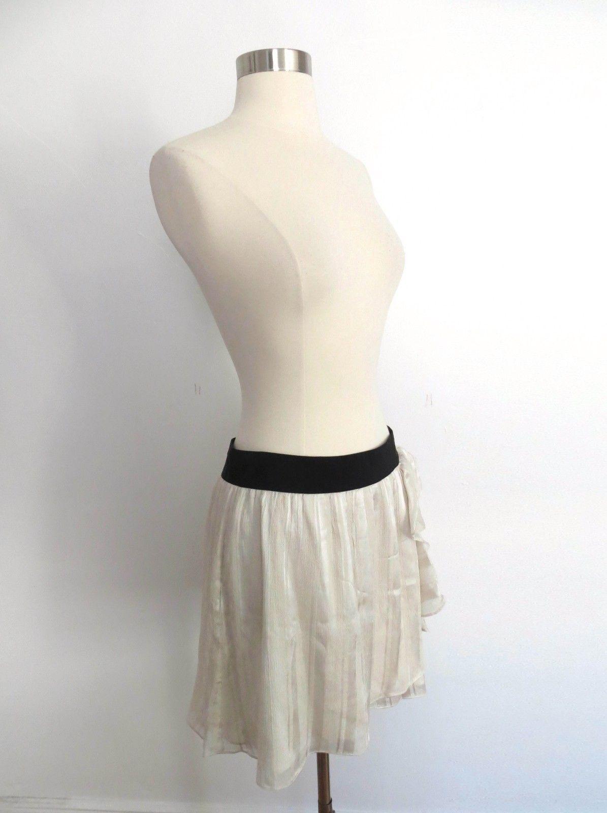 58cd909c84 Club Monaco size 2 pearl ivory knee length skirt decorative ruffles 100%  Silk
