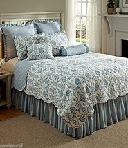 """Noble Excellence """" Sabrina """"  2 Pc Euro Shams Quilted  Blue/White Stripe Nib $90 - $47.02"""