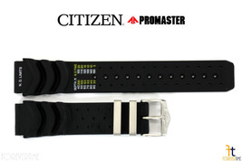 Citizen Aqualand B741M-H16463 20mm Black Rubber Watch Band Strap S021359... - $53.95