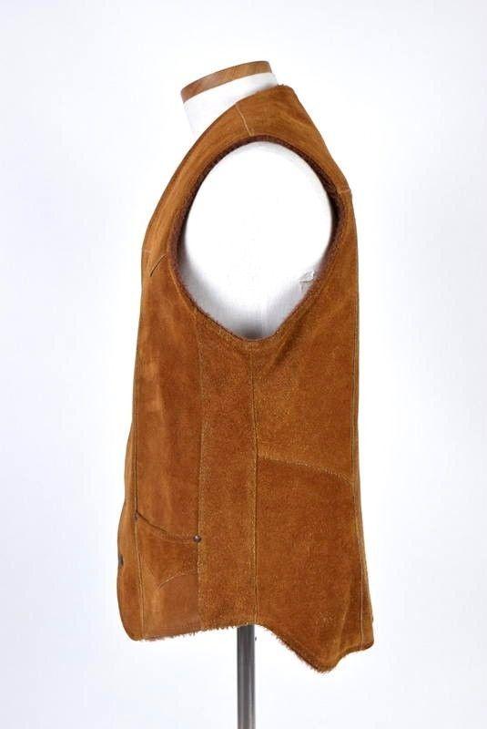 cb7c3653156 Vtg 70s PIONEER WEAR Brown Suede Leather Sherpa Lined Western Vest Jacket  Men 42