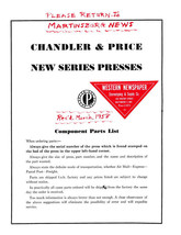 CHANDLER & PRICE C&P PRESS REPLACEMENT PARTS NEW SERIES PRESS & OILING C... - $15.83