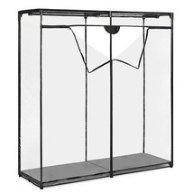 "Portable Closet Wardrobe Clothes Garment Storage Rack 60"" Clear Cover - $53.43"