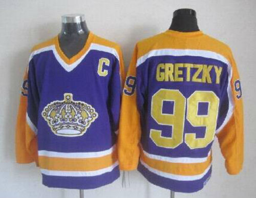 Number 99 Wayne Gretzky Jerseys Los Angeles Kings purple t shirts, used for sale  USA