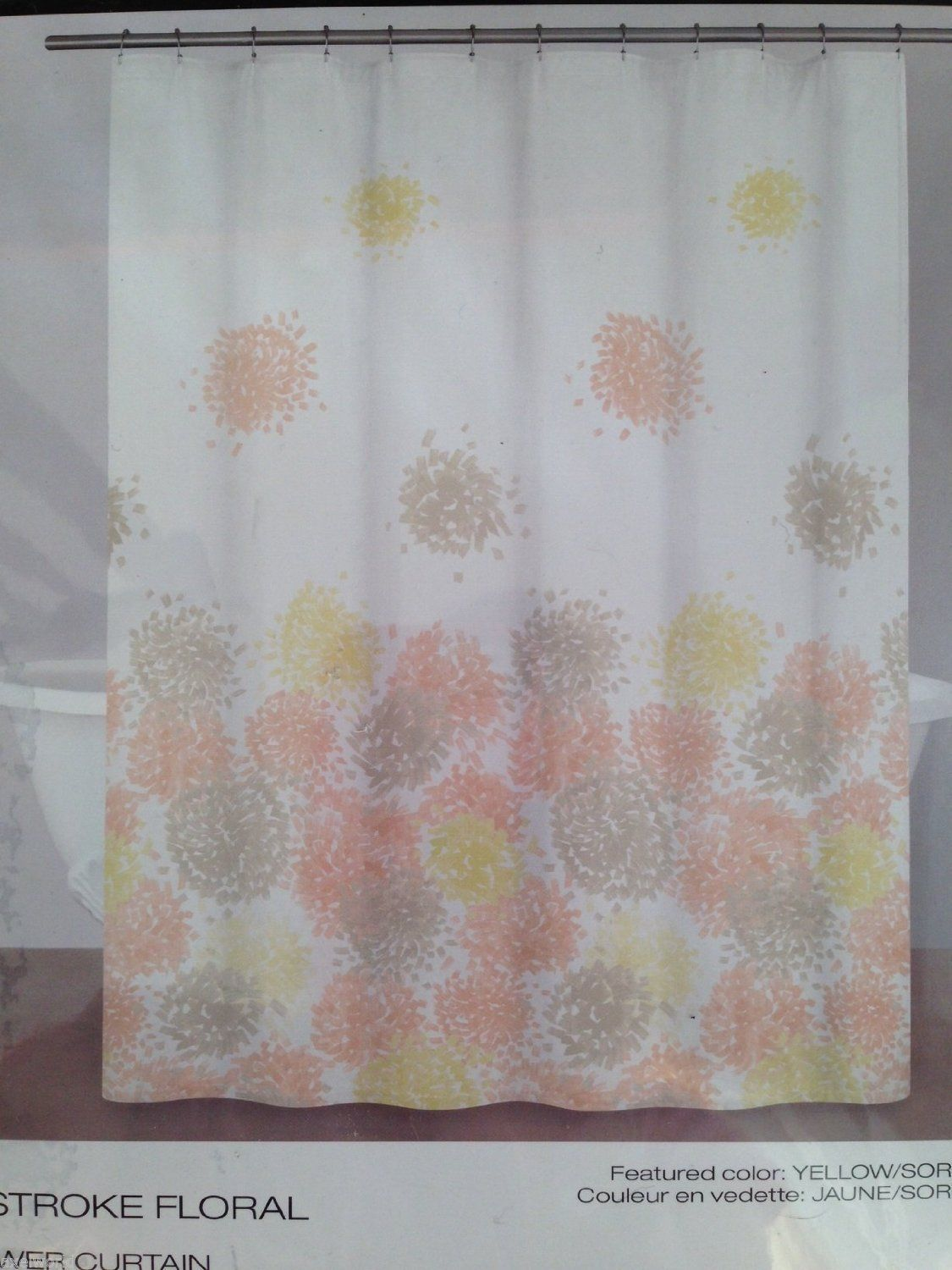 DKNY BRUSHSTROKE FLORAL 1PC SHOWER CURTAIN YELLOW