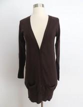 Zara size MEDIUM dark brown button down long basic cardigan sweater - $31.99