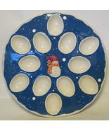 Large Snowman Egg Serving Plate Winter Motif - $66.82