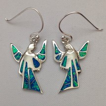 Sterling Silver Handmade Inlay Opal Stone Angel Hook Dangle Earrings - $49.99