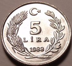 Rare Gem Unc Turkey 1988 5 Lira~Cresent Moon And Star~100,000 Minted~Fre... - $3.83
