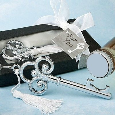 50 Key To My Heart Bottle Openers Wedding Favor Reception Gift Classic Chrome