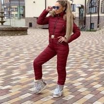 European Women's OnePiece Pink Duck Down Fur Lined Hooded Pink Ski Suit Snowsuit image 9