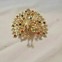 """Vintage Brooch Peacock with Diamantes Gold tone 2"""" long Fashion Jewelry - $10.44"""