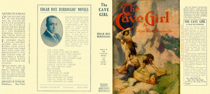 Edgar Rice Burroughs THE CAVE GIRL facsimile jacket 1st Grosset edition