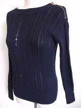 NWT J. Crew Shoulder Zip Chunky Cable Sweater S Navy Blue 100% Cotton 47171 - $18.69