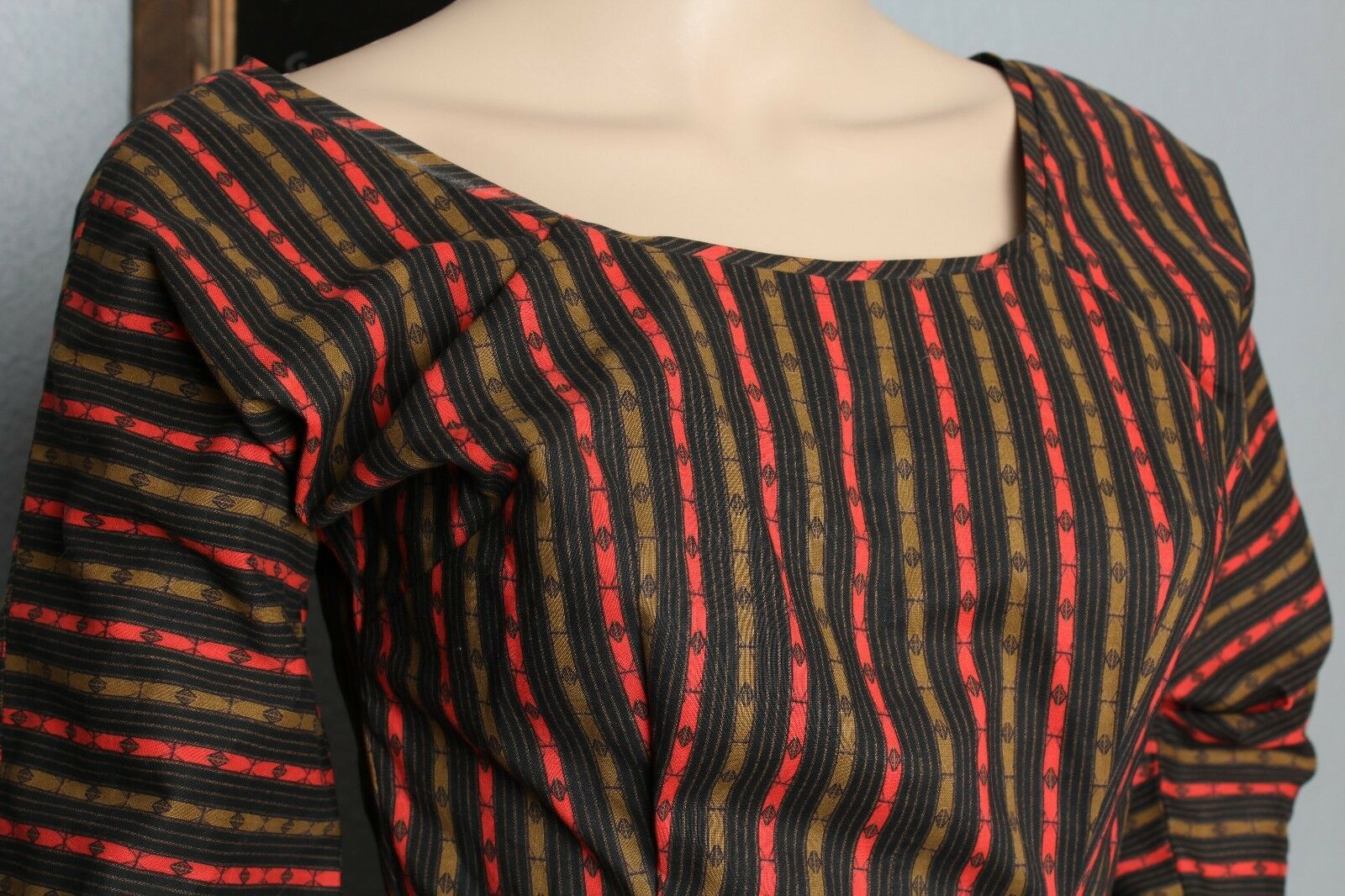 Vintage 15.2ms Sud-Ouest Ethnique Azteque Atomique Chimayo Look Rayure Ourlet