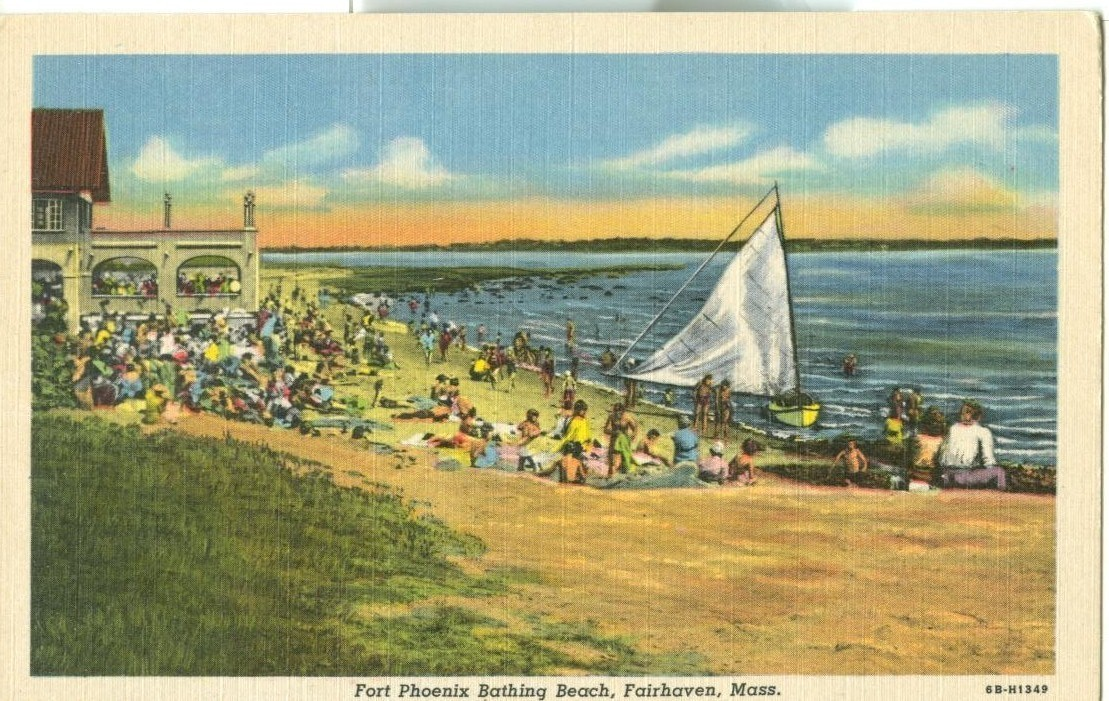 Fort Phoenix Bathing Beach, Fairhaven, Mass, unused linen Postcard