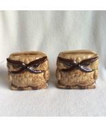 Vintage Owl Napkin Holder Set Ceramic Figurine Brown Big Eyes Grumpy Ang... - $38.69