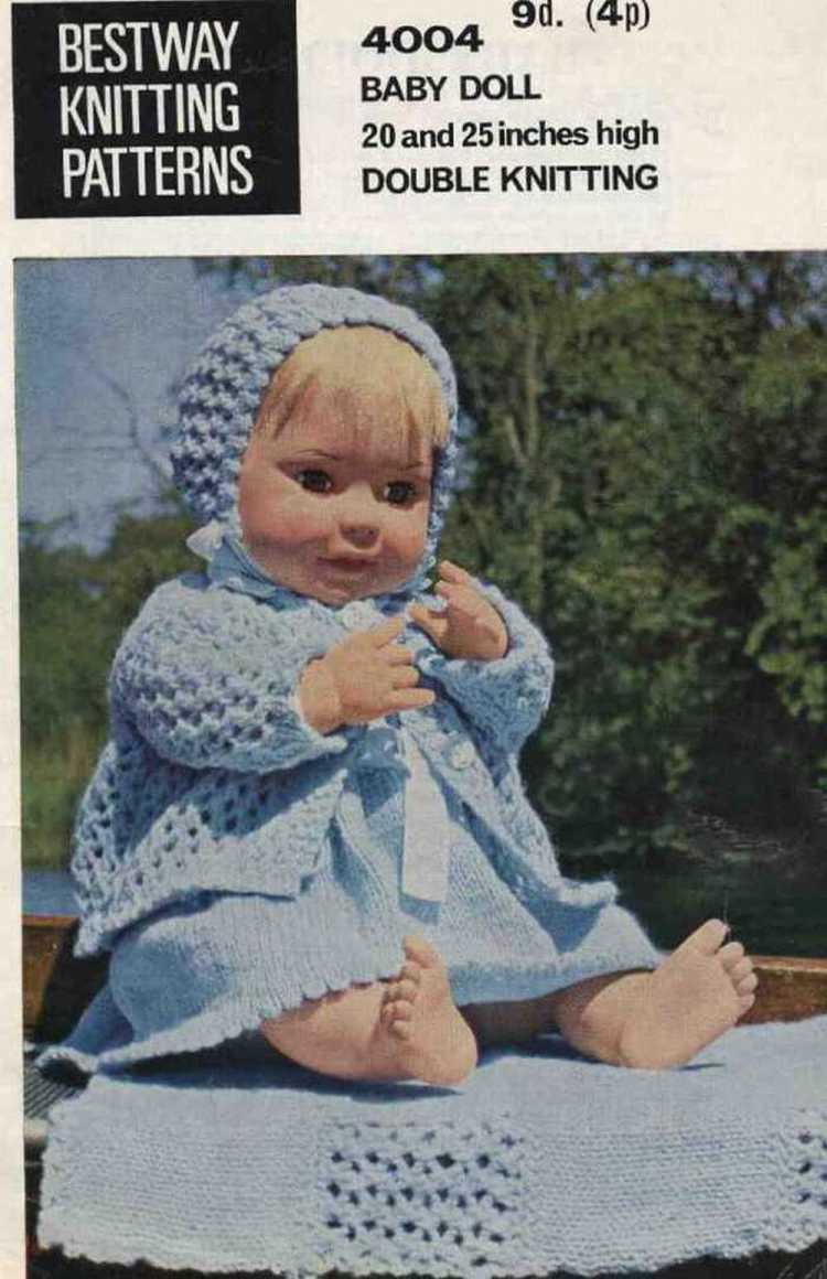 Vintage knitting pattern for dolls/reborns. 20 - 25 in Bestway 4004. PDF Bestway