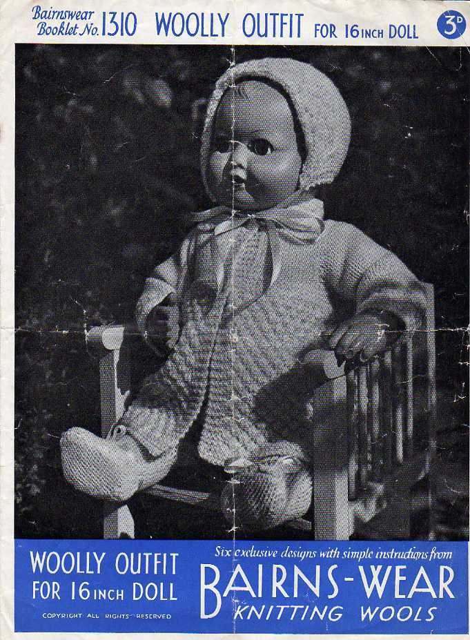 Vintage knitting pattern for 16in doll/reborn outfit. Bairnswear 1310. PDF Bairnswear