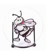 Glitter Bee Plaque Stand Beveled Glass Collectible Home Decorative - $9.99