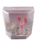 Lovinbox Pink Angel & Votive Holder on Mirror Stand Figurine - $16.99