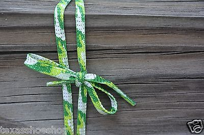 "Light/Dark Green, & White Camoflauge camo Shoe Laces 45"" 7 pairs of eyelets"