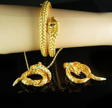Vintage Snake Parure Bracelet necklace Brooch Turquoise rhinestone eyes gold - $650.00