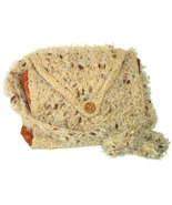 Tan hand knit handbag with inner pockets and strap - $31.00