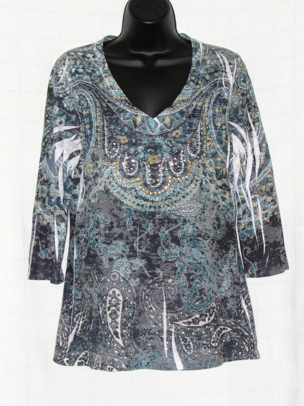 INC International Concept Sequin Embellished Paisley Print 3/4 Sleeve Top S: L