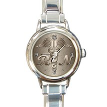 Ladies Round Italian Charm Bracelet Watch Registered Nurse RN model 2608... - $11.99