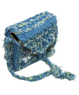 Funky blue hand knit handbag with silver butterfly - $28.00