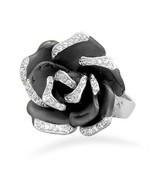 Brass Fashion Ring with Black Rose Design - $59.99